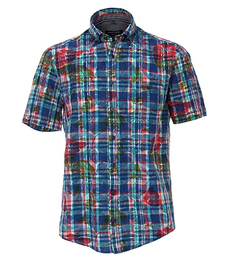 Casa Moda Short Sleeve Flower Check Shirt