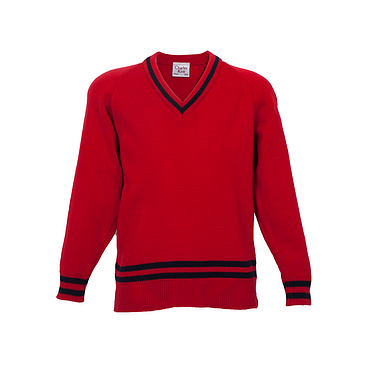 Red Sweater with Navy Stripe