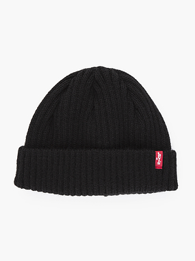 Levi's Ribbed Cropped Beanie Black