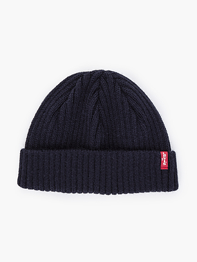 Levi's Ribbed Cropped Beanie Navy