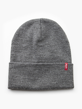Levi's Slouchy Red Tab Beanie Grey