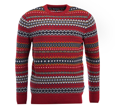 Barbour Chase Fairisle Crew Rich Red