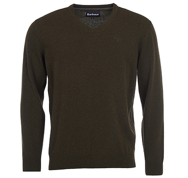 Barbour Lambswool V Neck Seaweed