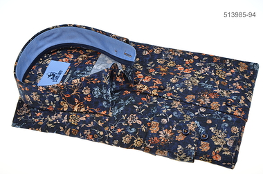 Culture Long Sleeve Shirt - Blue With Orange Flowers