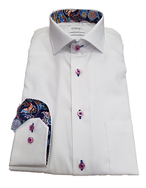 Oscar White Long Sleeve Formal Shirt (Pink Buttons)