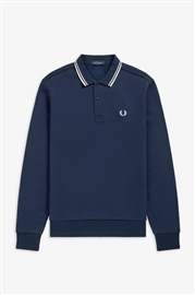 Fred Perry M9601 Long sleeve Tipped Polo Carbon Blue
