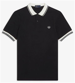 Fred Perry Black Contrast Rib Pique Polo