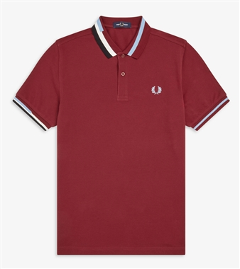 Fred Perry M7604 Dark Red Abstract Collar Pique Polo