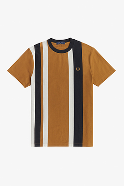 Fred Perry M1596 Striped Pique T-Shirt Dark Caramel