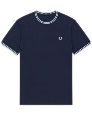 Fred Perry M1588 Twin Tipped Tee Blue