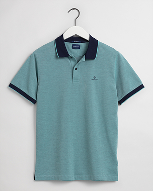 Gant 4-Colour Oxford Pique SS Rugger Green Lagoon