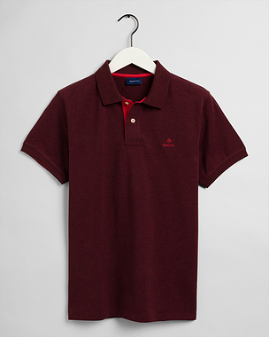 Gant Contrast Collar Pique Rugger Dark Burgundy