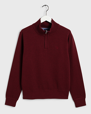 Gant Sacker Rib Half Zip Burgundy