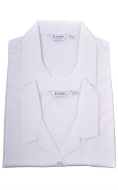 Trutex Long Sleeve White Revere Collar Blouses