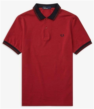 Fred Perry Rich Red Contrast Rib Pique Polo