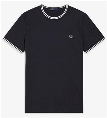 Fred Perry Navy Twin Tipped T-Shirt